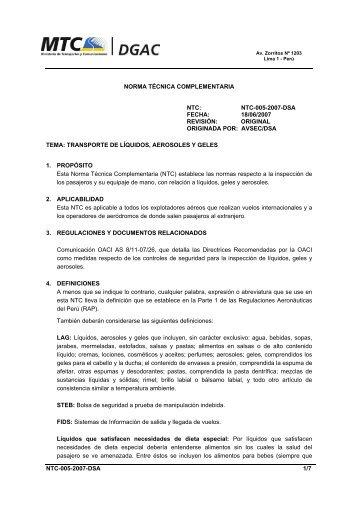 NTC-005-2007-DSA - Ministerio de Transportes y Comunicaciones