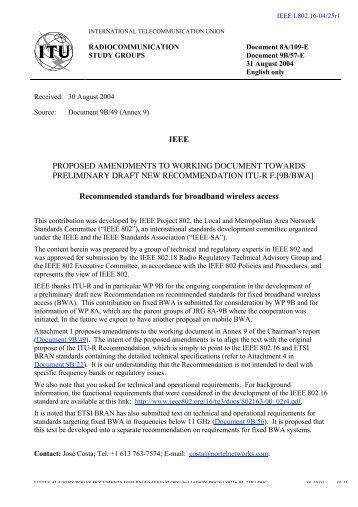 Radio interface specifications - LMSC, LAN/MAN Standards ...