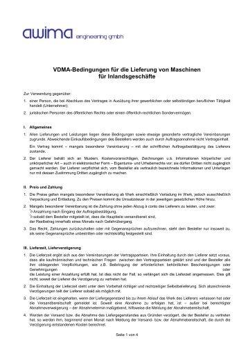 VDMA-Bedingungen für die Lieferung von Maschinen für ... - HZK