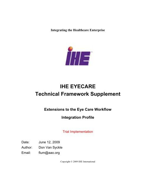 IHE Eye Care Technical Framework Vol 1 - IHE Wiki