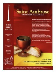 June 2, 2013 – Feast of Corpus Christi - Saint Ambrose Parish