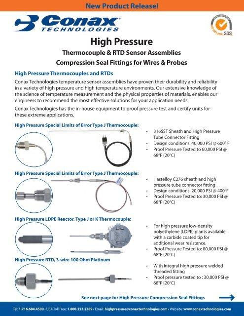 High Pressure Thermocouples, RTD Sensor Assemblies