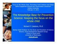 The Knowledge Base for Prevention Science: Keeping the focus on ...