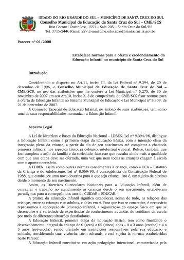Parecer nº 01, de 02 de junho de 2008 - Prefeitura de Santa Cruz do ...