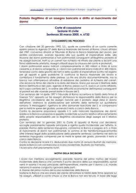 Sezione III civile - Sentenza 30 marzo 2005, n. 6732 - ufficiale ...