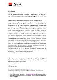 Neue Niederlassung der ALD Automotive in China - bei der ALD ...