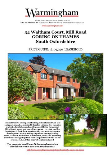 34 Waltham Court, Mill Road GORING ON THAMES ... - Warmingham