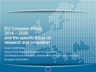EU Cohesion Policy 2014 – 2020 and the specific focus on research ...