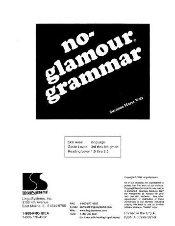 No-Glamour Grammar - Millbury Public Schools Community Portal
