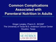Common Complications Associated with Parenteral Nutrition in Adults