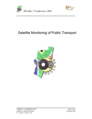 Satellite Monitoring of Public Transport - Thredbo-conference-series ...