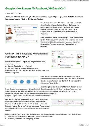 Google+ - Konkurrenz für Facebook, XING und Co.? - 1a-Social-Media