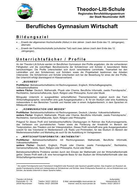 Berufliches Gymnasium Wirtschaft - Theodor-Litt-Schule - Stadt ...