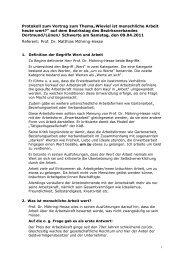 Protokoll vom Vortrag des Bezirkstages - (KAB), Bezirksverband ...
