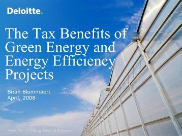 The Tax Benefits of Green Energy and Energy Efficiency Projects
