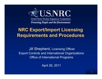NRC Export/Import Licensing Requirements and Procedures