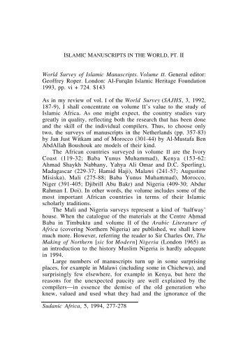 World Survey of Islamic Manuscripts. Vol. II