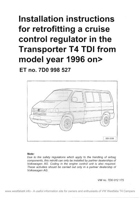 VW Transporter T4 Cruise Control Installation Instructions on