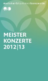 meister konzerte 2012|13 - Meister & Kammerkonzerte