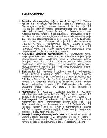 ELEKTRODINAMIKA 1. Jedna~ine elektromagnetnog polja i zakoni ...
