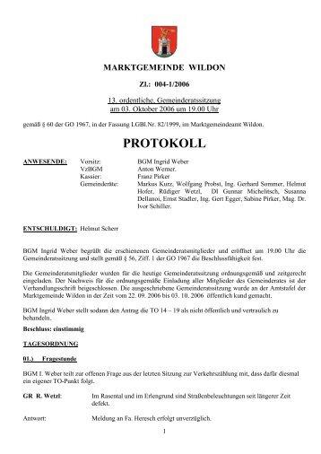 Protokoll der 13. Gemeinderatssitzung - Marktgemeinde Wildon