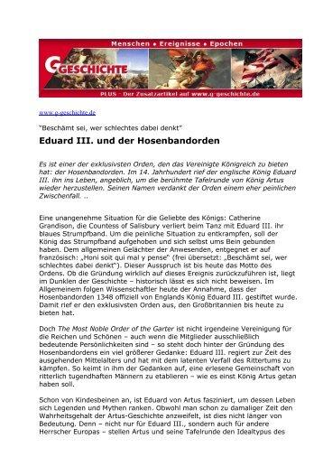 Eduard III. und der Hosenbandorden - G/Geschichte