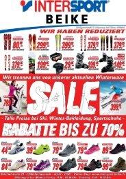 SALE bei Intersport Beike in Seligenstadt Ski, Winterartikel und Sportschuhe radikal reduziert