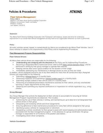 Rental Fleet Vehicle Policy - Elizabethtown College