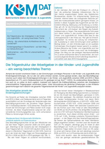 September 2012 Heft Nr. 2 / 12 15. Jg. Die Trägerstruktur der ...