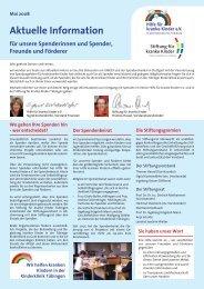 Spenderinformation Mai 2008 (PDF, 616 kb) - Hilfe für kranke Kinder ...
