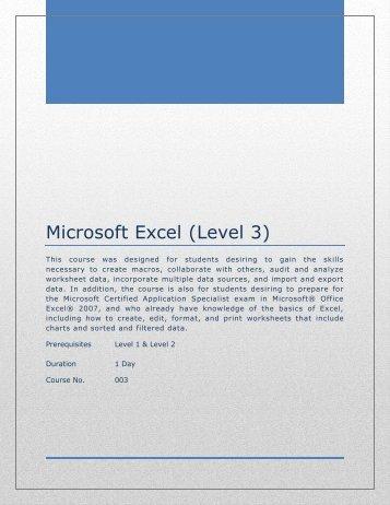 Microsoft Excel (Level 3)