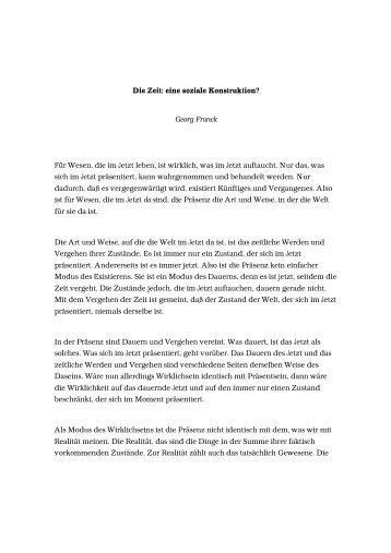 Die Zeit: eine soziale Konstruktion? Georg Franck Für ... - iemar