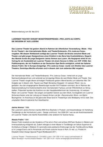 Luzernerin erhält PRIX JUSTE-AU-CORPS, 6.5 ... - Luzerner Theater