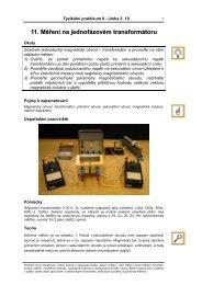 11 Měření na jednofázovém transformátoru