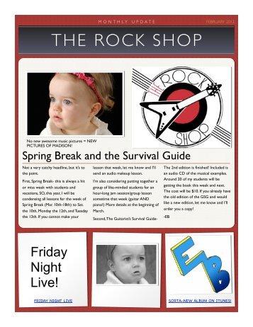 Rock Shop Newsletter Jan - Best Fort Worth Guitar Lessons