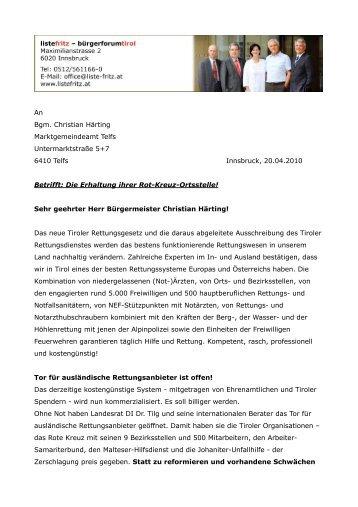 Appell an die Bürgermeister zur Erhaltung des ... - Liste Fritz