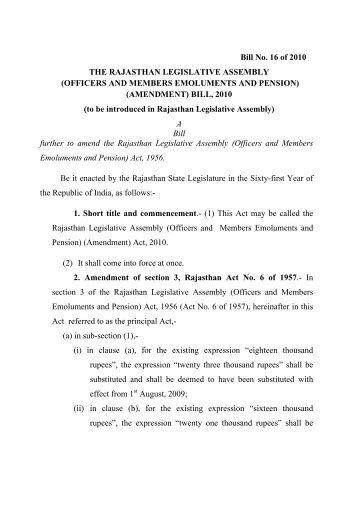 Bill No. 16 of 2010 THE RAJASTHAN LEGISLATIVE ASSEMBLY ...