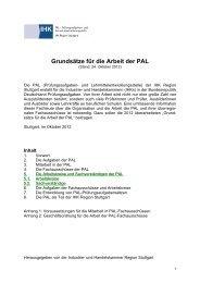 Grundsätze für die Arbeit der PAL - bei WAP!