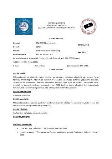 Yüksek Lisans Ders Kataloğu - Erciyes Üniversitesi | Elektrik ...