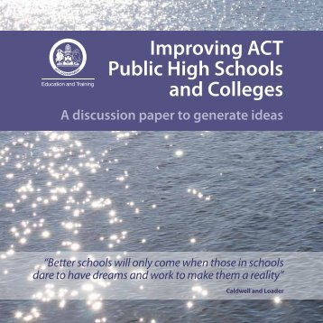Improving ACT High Schools and Colleges - Education and Training ...