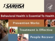National Behavioral Health Public Policy: Past and ... - SAMHSA Store