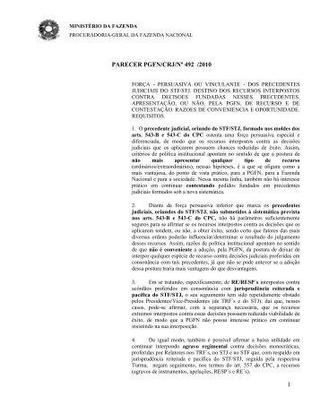 1 parecer pgfn/crj/nº 492 /2010 - Procuradoria Geral do Estado de ...
