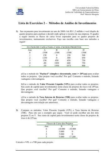Lista de Exercícios 2 - Especialização em Gerenciamento de Obras