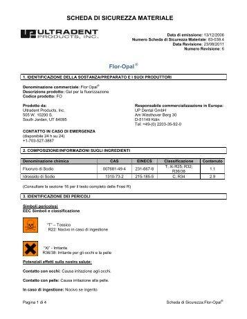 SCHEDA DI SICUREZZA MATERIALE - Ultradent Products, Inc.