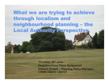 the Local Authority Perspective - Action in Rural Sussex