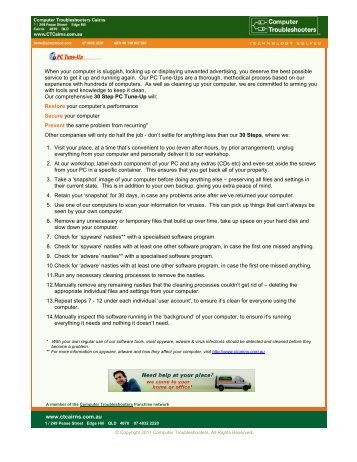 30 Steps Tune-up - Computer Troubleshooters Cairns