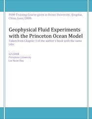 Geophysical Fluid Experiments with the Princeton Ocean Model
