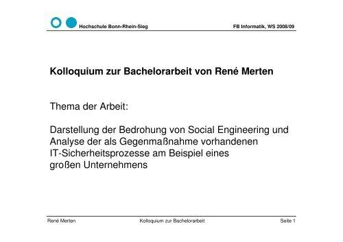 Kolloquium Zur Bachelorarbeit Von René Merten Hochschule Bonn
