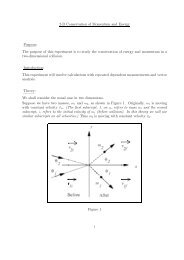 2-D Conservation of Momentum and Energy Purpose: The purpose ...