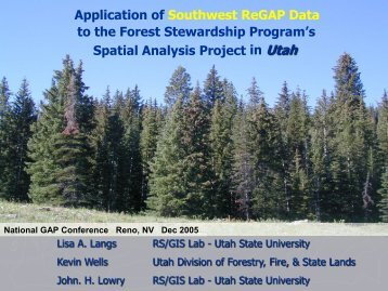Application of Southwest ReGAP Data - Utah State University